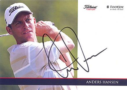 Anders Hansen, Danish golfer, signed 6x4 inch promo card.